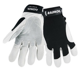 Radnor® Large Full Finger Grain Goatskin Mechanics Gloves With Hook And Loop Cuff, Leather Palm And Thumb Reinforcement, Spandex Back And Reinforced Fingertips