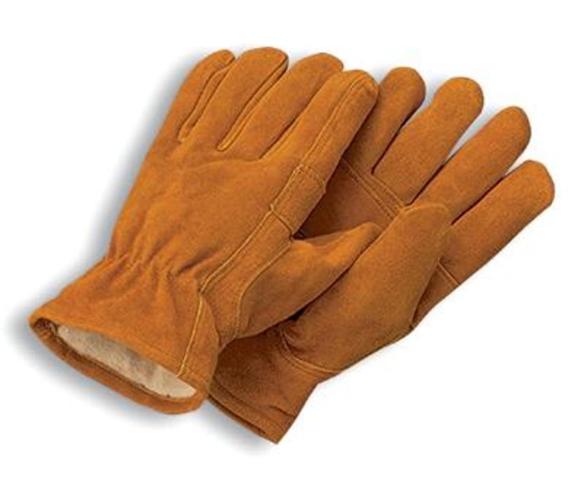 Thinsulate leather driving gloves - Radnor Large Brown Leather Thinsulate Lined Cold Weather Gloves With Keystone Thumb Slip