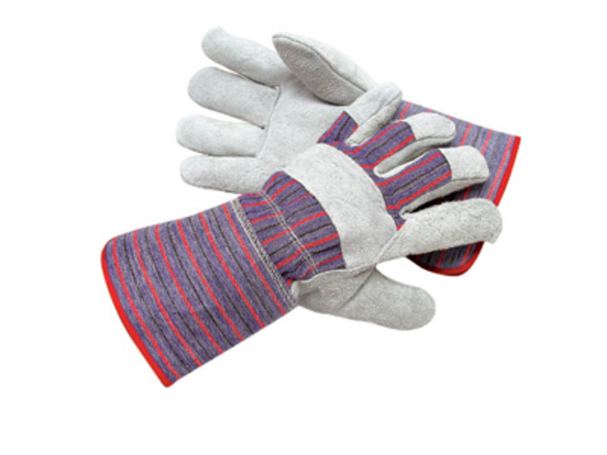 Gauntlet cuff leather work gloves - Radnor Large Economy Grade Split Leather Palm Gloves With Gauntlet Cuff Striped Canvas Back