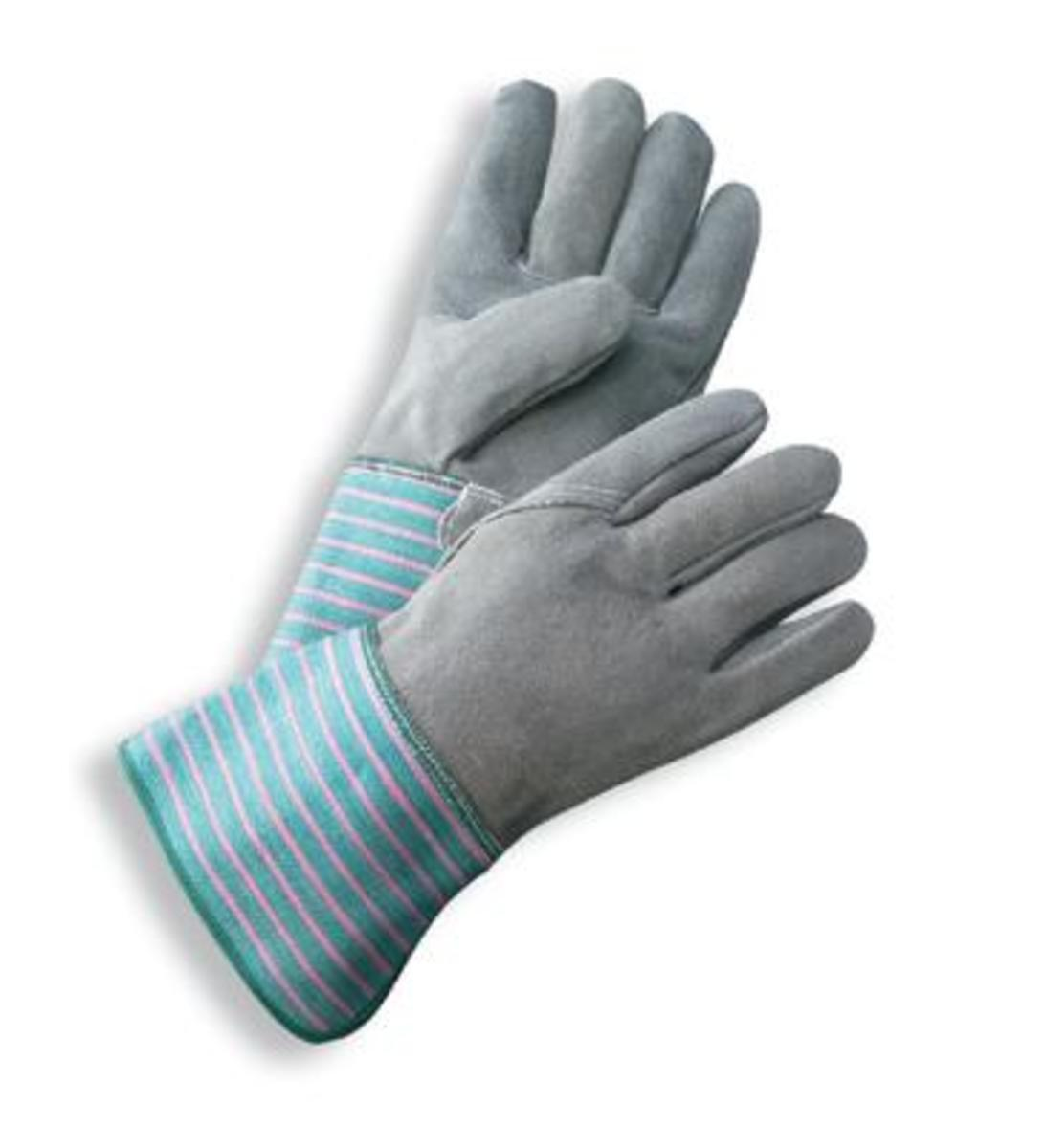 Gauntlet cuff leather work gloves - Radnor Large Select Shoulder Grade Split Leather Palm Gloves With Gauntlet Cuff Full Leather