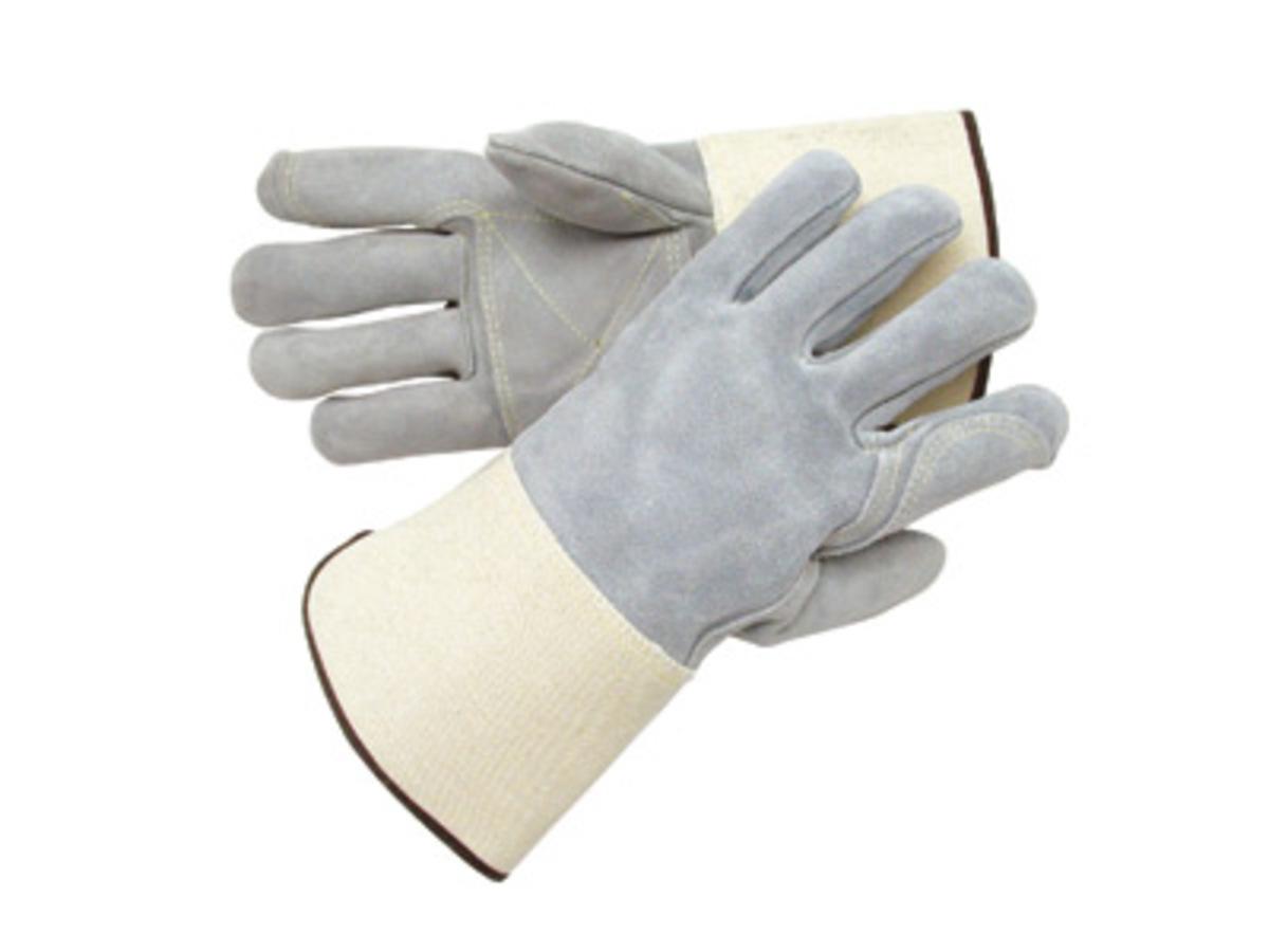 Gauntlet cuff leather work gloves - Radnor X Large Side Split Leather Palm Gloves With Gauntlet Cuff Full Leather