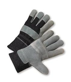 Radnor® Large Economy Grade Split Leather Palm Gloves With Safety Cuff, Denim Back And Leather Palm Patch, Reinforced Knuckle Strap, Pull Tab, Index Finger And Fingertips