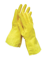 Radnor® Medium Yellow Flock Lined 16 mil Latex Chemical Resistant Gloves