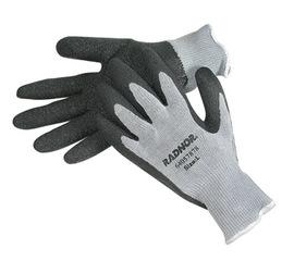 Radnor® Large Gray String Knit Gloves With Black Latex Palm Coating And White Hem