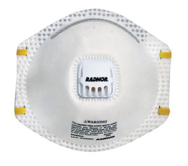 Radnor® N95 Particulate Disposable Respirator With Exhalation Valve And Adjustable Nose Clip - NIOSH 42CFR84 (10 Each Per Box)