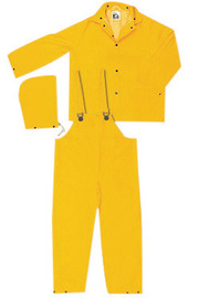 MCR Safety® Yellow Classic .35 mm Polyester And PVC 3-Piece Rain Suit With Detachable Hood And Bib Pants