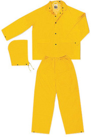 MCR Safety® Yellow Classic .35 mm Polyester And PVC 3-Piece Rain Suit With Detachable Hood And Elastic Waist Pant