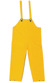 MCR Safety® Yellow Classic .35 mm Polyester And PVC Bib Pants With Take Up Snaps On Ankles And Waist