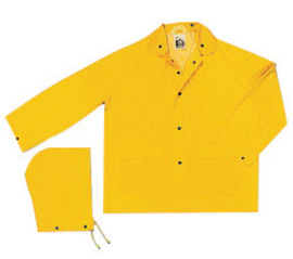 MCR Safety® Yellow Classic .35 mm Polyester And PVC 2-Piece Jacket With Detachable Hood