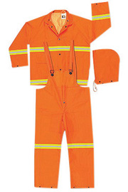 MCR Safety® Fluorescent Orange Luminator™ .35 mm Polyester And PVC 3-Piece Rain Suit With Hi Viz Stripes, Detachable Hood And Bib Pants
