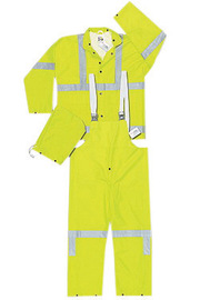 MCR Safety® Lime Luminator™ .38 mm Polyester And PVC 3-Piece Rain Suit With Hi Viz Stripes, Detachable Hood And Bib Pants