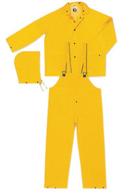 MCR Safety® Yellow Classic .32 mm Polyester And PVC 3-Piece Rain Suit With Detachable Hood And Bib Pants