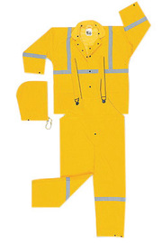 MCR Safety® Yellow Luminator™ .35 mm Polyester And PVC 3-Piece Rain Suit With Hi Viz Stripes , Detachable Hood, Corduroy Collar And Bib Pants