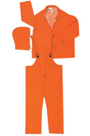 MCR Safety® Orange Classic Plus .35 mm Polyester And PVC 3-Piece Rain Suit With Detachable Hood, Bib Pants And Corduroy Collar