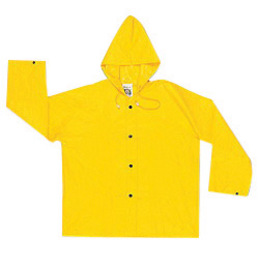 MCR Safety® Yellow Wizard .28 mm Nylon And PVC Jacket With Attached Hood