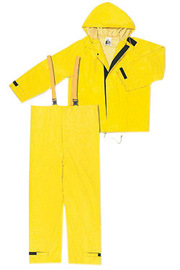 MCR Safety® Yellow Hydroblast .28 mm Nylon And PVC 2-Piece Rain Suit With Attached Hood And Bib Pants