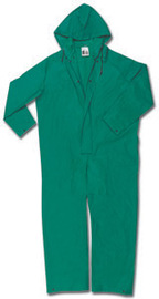 MCR Safety® Green Dominator .42 mm Polyester And PVC Coverall With Attached Hood