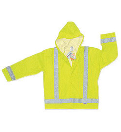 MCR Safety® Fluorescent Lime Luminator™ .16 mm Polyester And Polyurethane Jacket With Attached Hood