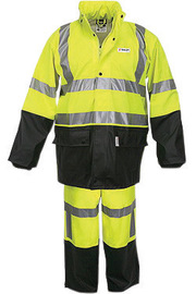 MCR Safety® Fluorescent Lime/Black Luminator™ .40 mm Polyester And Polyurethane 2-Piece Rain Suit With Attached Hood And Elastic Waist Pants