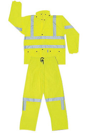 MCR Safety® X-Large Fluorescent Lime Luminator™ .40 mm Polyurethane And Cotton/Polyester Blend 2-Piece Rain Suit With Attached Hood And Elastic Waist Pants