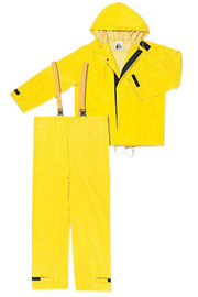 MCR Safety® Yellow Hydroblast .35 mm Neoprene And Nylon 2-Piece Rain Suit With Attached Hood And Bib Pants