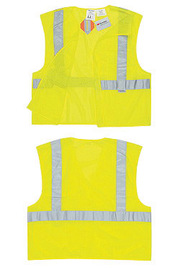 River City Garments® Medium Hi-Viz Lime Treated Polyester Mesh Class 2 Solid Tear Away Vest With Front Hook And Loop Closure And 3M™ Scotchlite™ 2