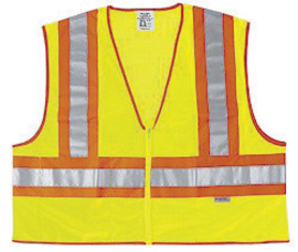 River City Garments® Medium Hi-Viz Lime Treated Polyester Mesh Class 2 Vest With Zipper Closure And 3M™ Scotchlite™ 4.5