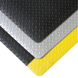 Superior Manufacturing 2' X 3' Black With Yellow Edge Vinyl Notrax® Anti-Fatigue Floor Mat With PVC Foam Back