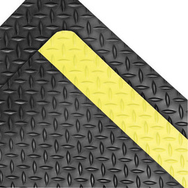 Superior Manufacturing 3' X 75' Black With Yellow Edge Rubber Notrax® Anti-Fatigue Floor Mat With PVC Foam Back