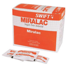 North By Honeywell® Swift First Aid Miralac Sugar Free Antacid Indigestion Tablet (2 Per Pack, 50 Packs Per Box)