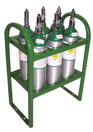 Saf-T-Cart Medical 6 Cylinder Cart With SC-5 Semi-Pneumatic Wheels And Dual Handle