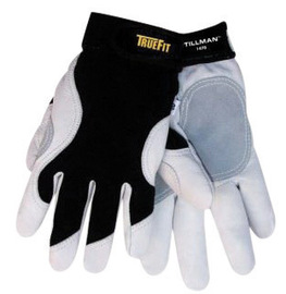 Tillman™ Large Black And White TrueFit™ Full Finger Top Grain Goatskin And Spandex® Premium Mechanics Gloves With Elastic Cuff, Double Leather Palm, Reinforced Thumb And Smooth Surface Fingers