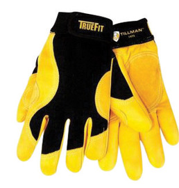 Tillman™ Large Black And Gold TrueFit™ Full Finger Top Grain Cowhide Premium Mechanics Gloves With Elastic Cuff, Double Leather Palm, Reinforced Thumb And Smooth Surface Fingers