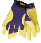 Tillman™ Medium Blue And Gold TrueFit™ Full Finger Top Grain Spandex® And Deerskin Premium Mechanics Gloves With Elastic Cuff, Double Leather Palm, Reinforced Thumb And Smooth Surface Fingers