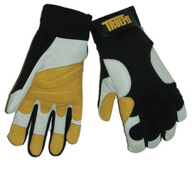 Tillman™ Large Black, Gold And Pearl TrueFit™ Full Finger Top Grain Goatskin Super Premium Mechanics Gloves With Elastic Cuff, Nylon Spandex® Back, Goatskin Double Palm And Thumb, Reinforced Fingertips And Additional Padding