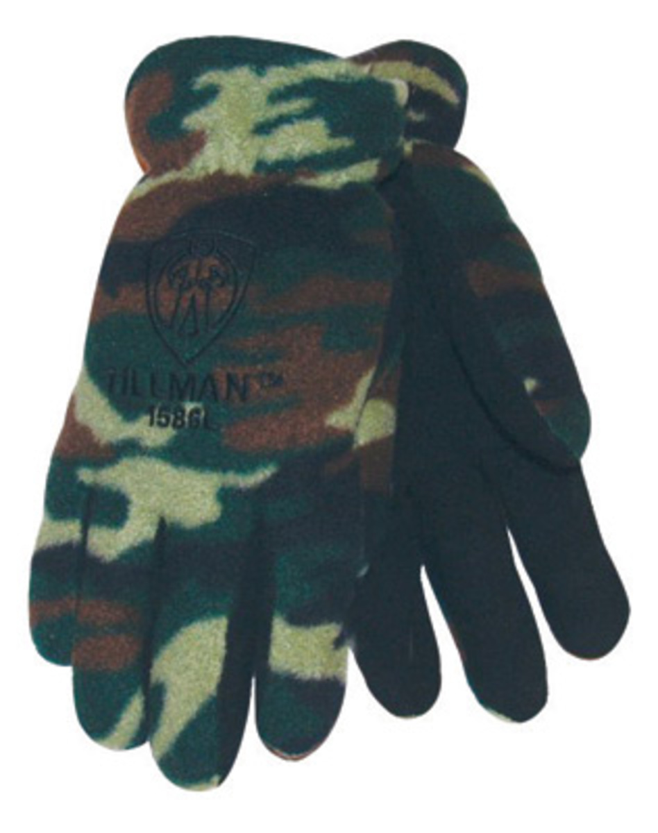 Tillman leather work gloves - Tillman Large Camouflage Polar Fleece Coldblock Cotton Polyester Lined Cold Weather Gloves With