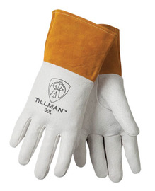 Tillman™ X-Large Pearl Top Grain Pigskin Premium Grade TIG Welders Gloves With Straight Thumb, 4