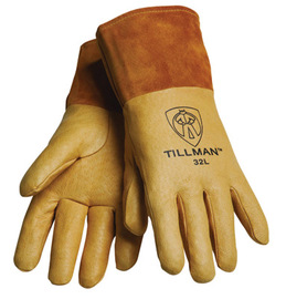 Tillman™ Medium Gold Top Grain Pigskin Unlined Premium Grade MIG Welders Gloves With Straight Thumb, 4