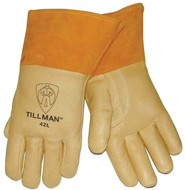 Tillman® Medium Brown Top Grain Pigskin Cotton/Foam Lined Premium Grade MIG Welders Gloves With Straight Thumb, 4