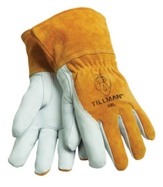 Tillman™ X-Large Brown Top Grain Goatskin Fleece Lined Standard Grade MIG Welders Gloves With Straight Thumb, 3 1/2