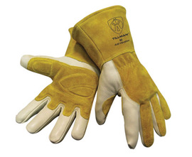 Tillman™ Large Gold And Pearl Top Grain Split Back Cowhide Fleece Lined MIG Welders Gloves With 4