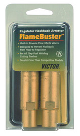 Victor® FlameBuster™ Plus FBP-1 Brass Torch Mount Heavy Duty Flashback Arrestor Set With Kwik-Connect™ Coupling (Includes Built-In Reverse Flow Check Valve And Nut And Swivel Assembly)