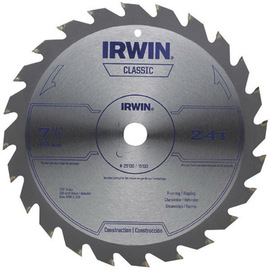 """IRWIN® 7 1/4"""" X 5/8"""" X .055"""" 8300 RPM 24 TPI ATB Grind Vise-Grip® Sprint® Series Classic Carbide Tipped Universal Circular Saw Blade (For Wood Cutting) (Bulk Package) 