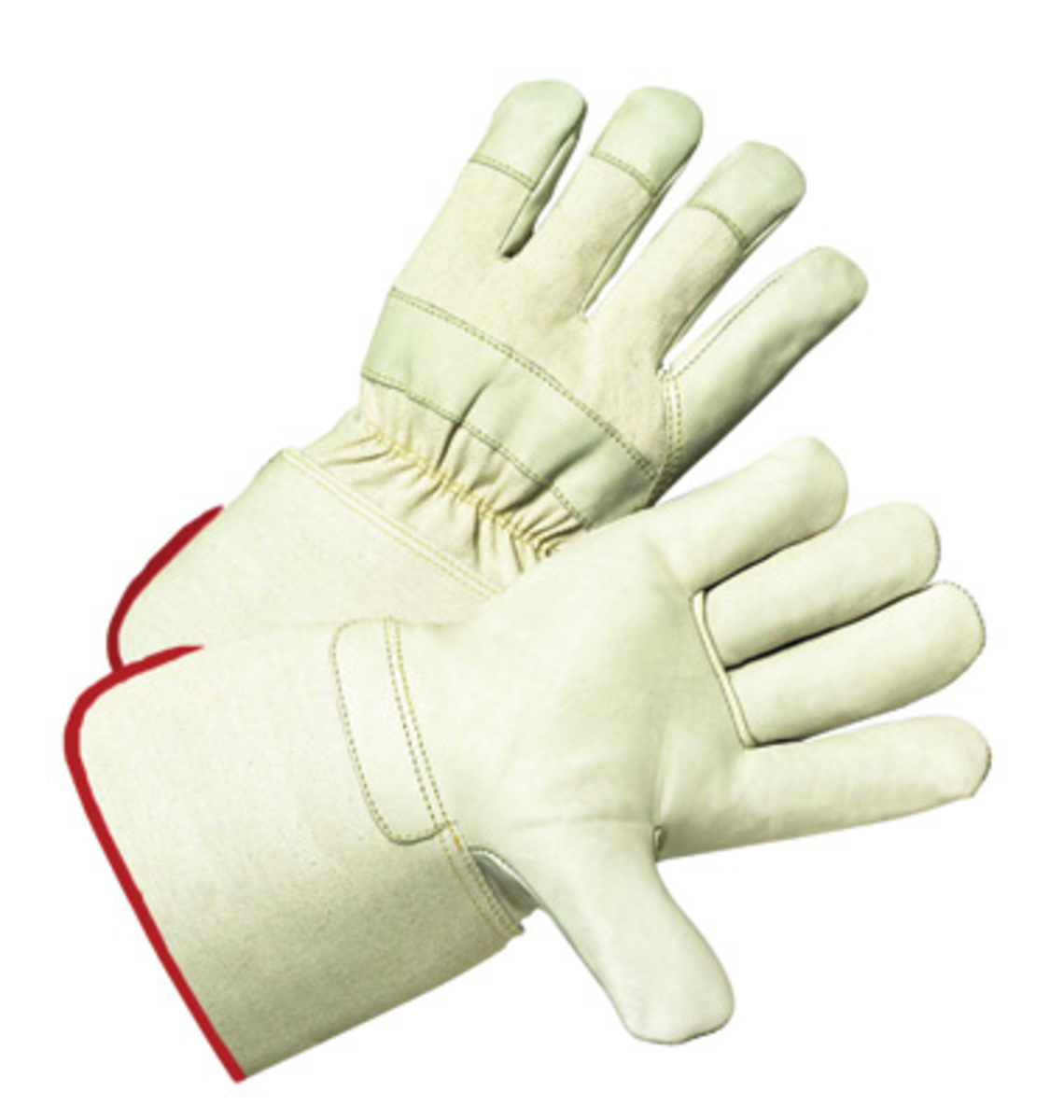 Gauntlet cuff leather work gloves - West Chester Large Premium Grade Top Grain Cowhide Leather Palm Glove With Rubberized Gauntlet Cuff