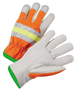 RADNOR® Medium Beige And Hi-Vis Orange Select Grain Cowhide Polyester Unlined Drivers Gloves