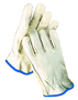Radnor® X-Large Grain Cowhide Unlined Drivers Gloves With Keystone Thumb, Slip-On Cuff, Blue Hem And Shirred Elastic Back