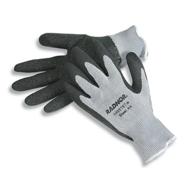 RADNOR® Medium 10 Gauge Dark Gray Latex Palm And Fingertip Coated Work Gloves With Gray Acrylic, Cotton And Polyester Liner And Knit Wrist