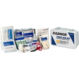 RADNOR® White Metal Portable Or Wall Mounted 10 Person First Aid Kit