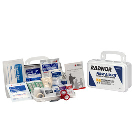RADNOR® White Plastic Portable Or Wall Mounted 10 Person First Aid Kit