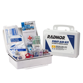 RADNOR® White Plastic Portable Or Wall Mounted 25 Person First Aid Kit